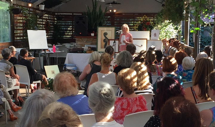 Modern contemporary artist, Jenny Scholes speaking at the 2017 Morning tea