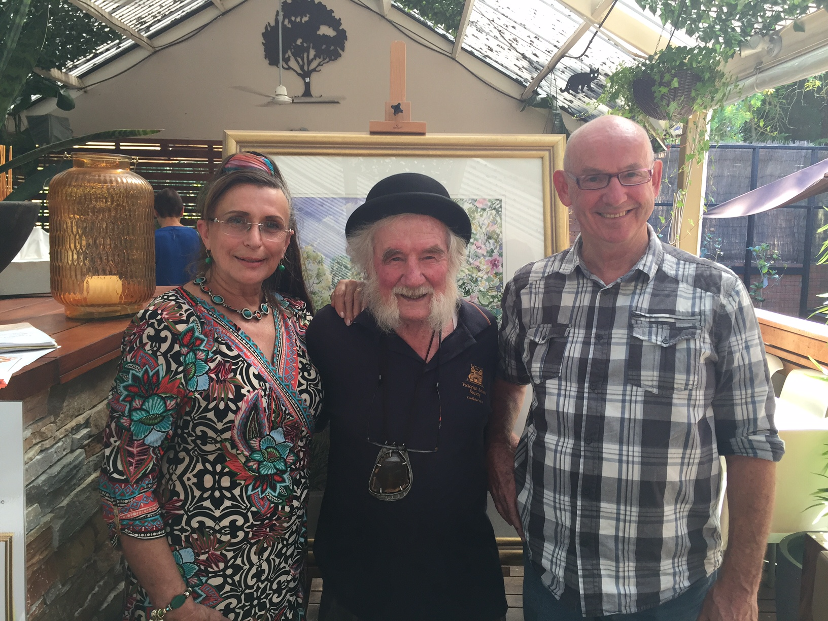 an Artistic Morning tea 2016 with 3 delightful artists, left to right - Agnes Parcesepe, Walter Magilton & Malcolm Beattie