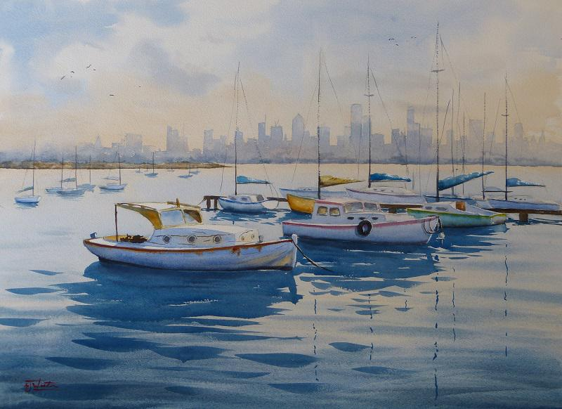 © Tony Weston - Boats at anchor Williamstown
