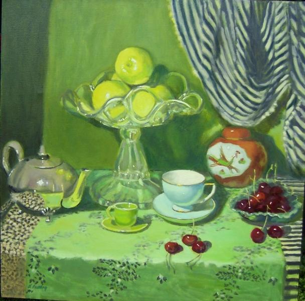 © Robyn Peatling - Green still life with glass and silver